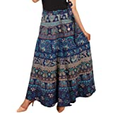 Jaipuri Fashionista Cotton Women's Long Wrap Around Skirt Jaipuri Printed (Free Size Upto 44-XXL)