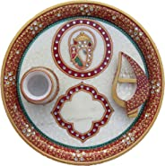 eCraftIndia Pooja Thali with Ganesha and Diya (9 in, Red, Yellow and Golden)
