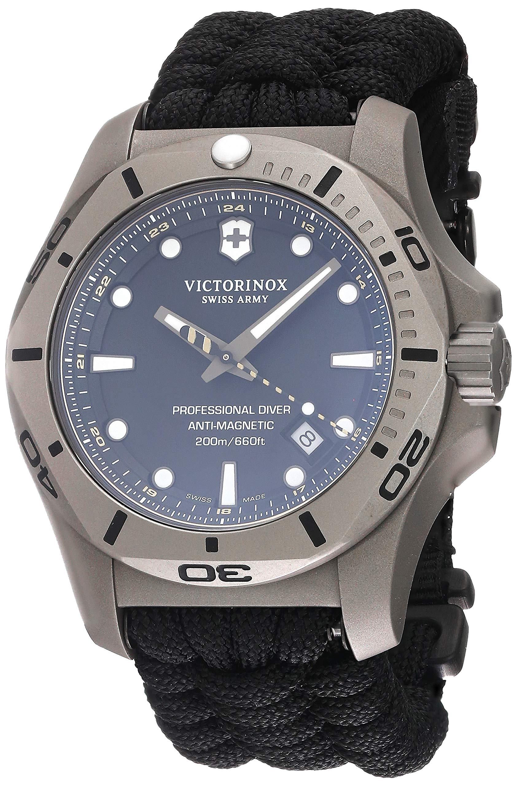 Victorinox Men's I.N.O.X. Professional Diver Titanium – Swiss Made Analog Quartz Titanium/Paracord Watch 241812