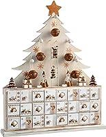 WeRChristmas Wooden Tree Advent Calendar Christmas Decoration, 40 cm - Natural Beige