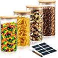 Deco Haus Återanvändningsbara Förvaringsburkar -Glasburkar med Lock - Set om 4 - Lufttäta, för Diskmaskin, Mikrovågsugn - Teb