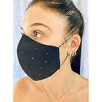 Mascherina Unisex Lavabile 100% cotone nero e strass