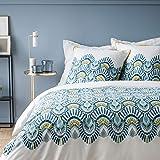 MATT & ROSE Ocellus Parure de Lit Housse de Couette 260X240 + 2 taies d'oreillers 65X65 Cm, 100% Coton 57 Fils Blanc/Bleu 471