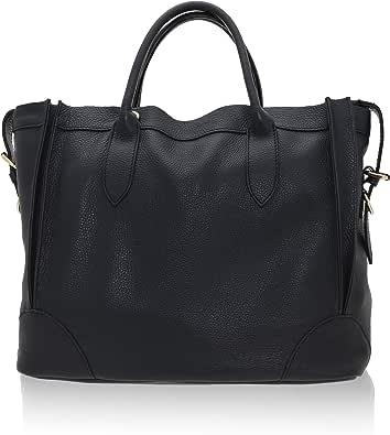 Chicca Borse - Handbag Borsa a Mano da Donna Realizzata in Vera Pelle Made in Italy - 37 x 30 x 15 Cm