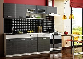 Gut Komplett Küche 240cm Schränke, Küchenzeilen MORENO SCHWARZ   GRAU