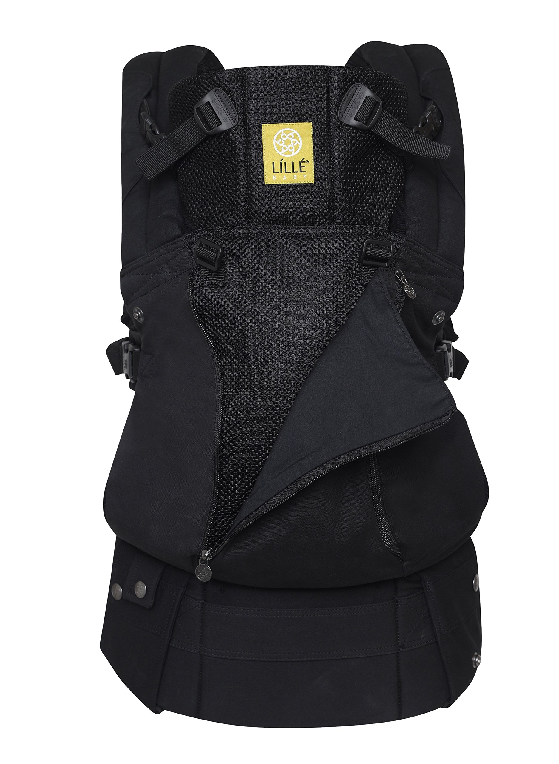 LÍLLÉbaby  Complete All Seasons 6-in-1 Baby Carrier, Black Lillebaby With a temperature regulating breathable panel that unzips to encourage airflow in warm conditions and 6 carrying positions - Foetal, infant inward, outward, toddler inward, hip, back - The only carrier you'll ever need! Suitable from 3.2- 20kg (birth to approx. 4 years old), providing extended comfortable use for parent and child with no additional infant support required for new-borns - the ergonomic adjustable seat is acknowledged as 'hip-healthy' by the International Hip Dysplasia Institute Unique spacious head support with elasticated straps - soothes infants with gentle lulling motion and provides excellent support as children grow 1