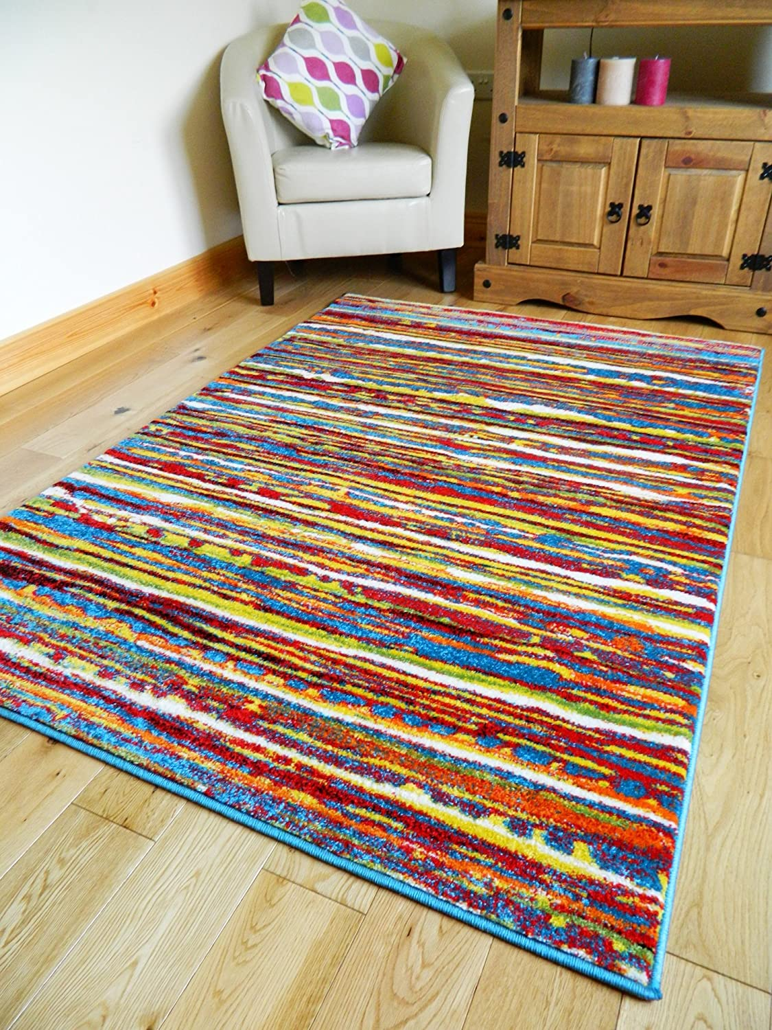 MULTI COLOURED STRIPE FUNKY BRIGHT MODERN THICK SOFT HEAVY QUALITY AREA RUG  SMALL MEDIUM XX LARGE RUG NEW MODERN SOFT NAVY YELLOW BLUE RED CARPET NON  SHED. MULTI COLOURED STRIPE FUNKY BRIGHT MODERN THICK SOFT HEAVY QUALITY