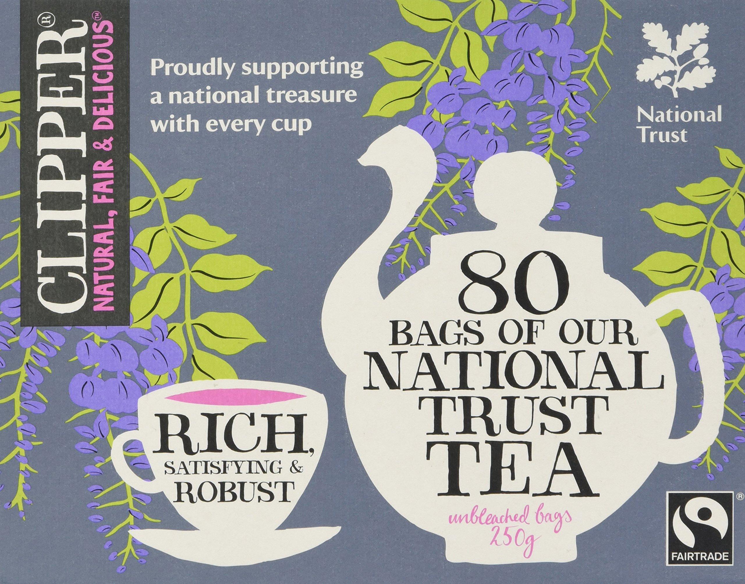 Clipper fairtrade national trust tea bundle (fairtrade, soil association) (black tea) (national trust) (6 packs of 80 bags) (480 bags) (brews in 2-4 minutes)