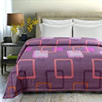 BSB HOME 120 GSM Machine Quilted Microfiber Lightweight Flower Print Reversible Double Bed A/C Summer and Mild Winter Comforter, 220 x 240 cm (Purple and White)