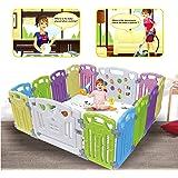 Box per Bambini Sicurezza Barriera Giochi Protezione indoor outdoor con 14 pannelli(classic 12+2 panel)