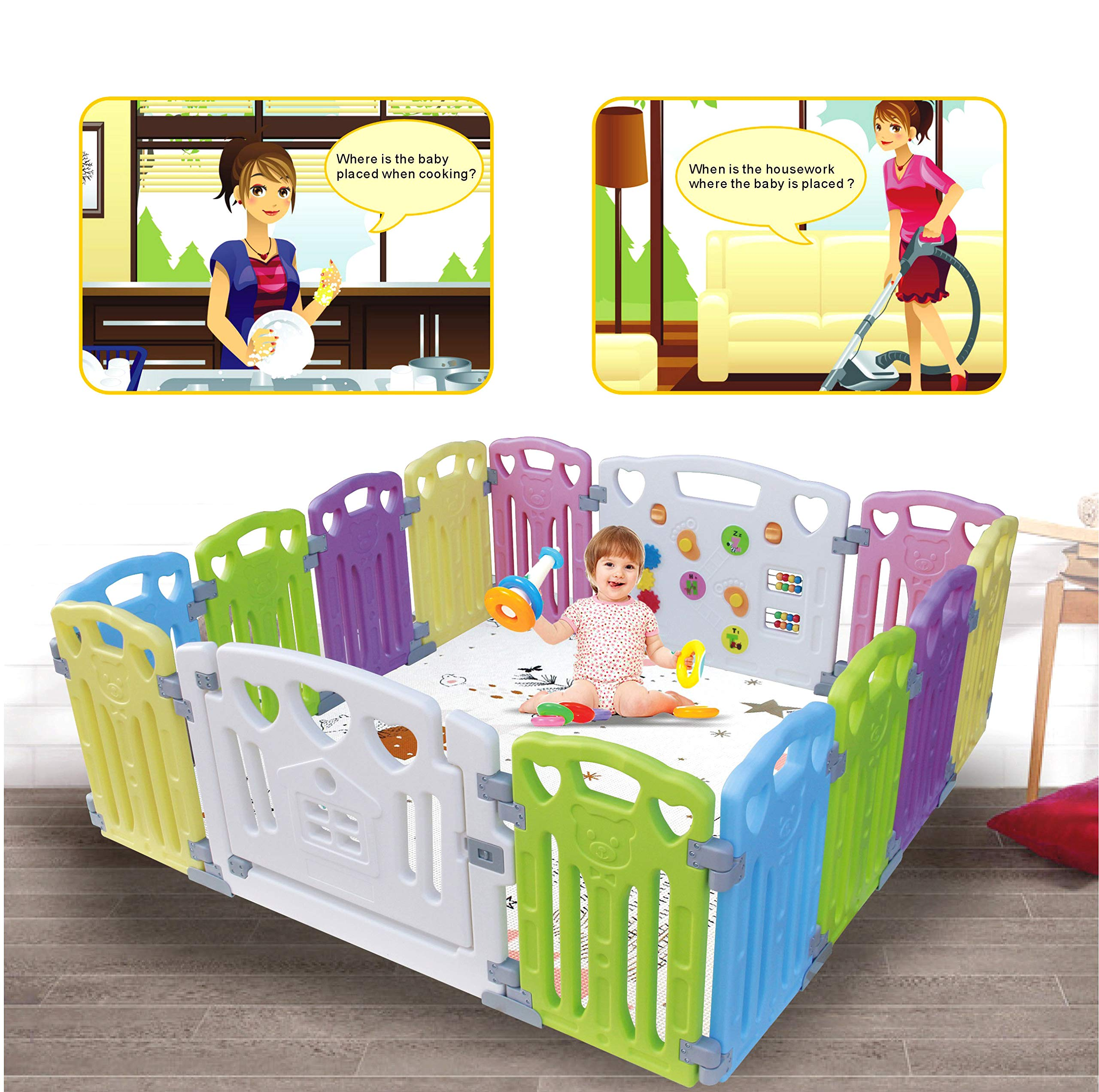 Baby Playpen Kids Activity Centre Safety Play Yard Home Indoor Outdoor New Pen (Multicolour, Classic Set 14 Panel) (Multicolour 14 Panel) Gupamiga MOM'S LIFESAVER: Keep baby safe in there play centre when mom/dad needs to cook, clean up, go to the bathroom, etc. STURDY HOLDING: Specially designed rubber feet underneath of the yard so the parts don't go sliding around. COVERS A LARGE AREA: It is a great amount of space for baby to learn walk and even laying with baby in it for play time. 1