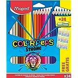 Maped - Lápices de colores ergonómicos triangulares, lápices de colores Color'PEPS STRONG - x24 lápices + x24 pegatinas para