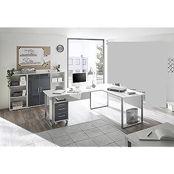moebel dich auf komplettes arbeitszimmer buro set komplettset office lux in lichtgrau glas graphit lack 5 teilig