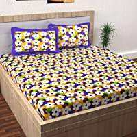 Story@Home Pearl Jaipuri Traditional Collection 120 TC Cotton 1 Double Bedsheet and 2 Pillow Cover - Floral, Yellow कपास…