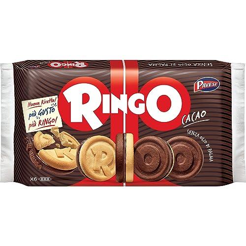 Pavesi Ringo Biscotti Farciti con Crema al Gusto Cacao per Colazione o Gustoso Snack, Senza Olio di Palma, Formato Famiglia, Confezione da 330 g