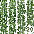 DazSpirit Lierre Guirlande Plantes artificielles 24 pièces Lierre Plante Artificielle, 168 Ft Exterieur Lierre Artificielle G