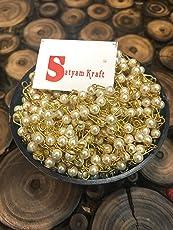 Satyam Kraft Plastic Handcrafted Beaded 2MT Ball Chain, 5mm (Off-White)
