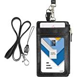 Porte-badge avec fermeture Éclair, Wisdompro 2 Côtés imitation cuir Porte-badge avec 1 fenêtre pour carte d'identité, 4 empla