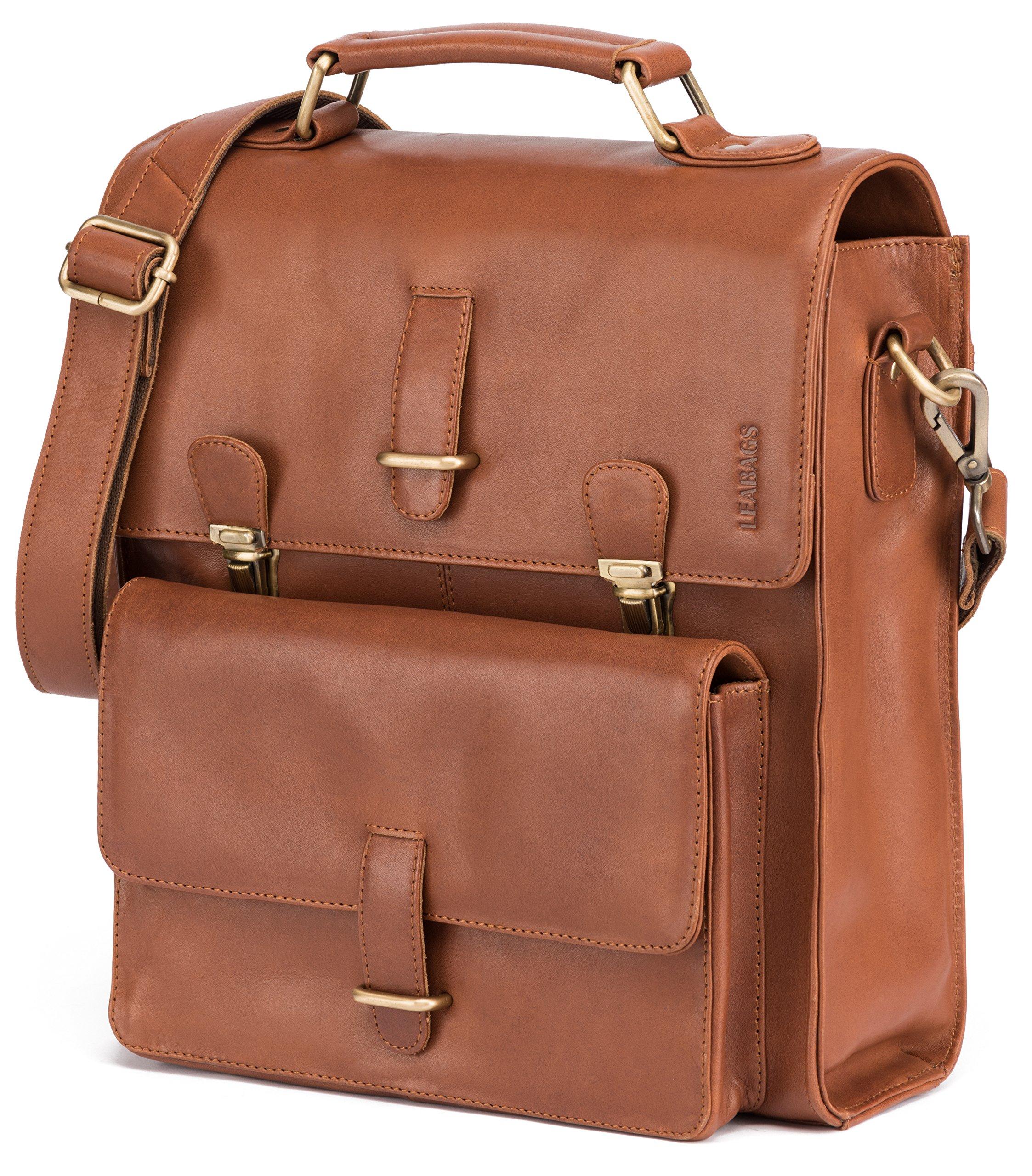 91CObFWh qL - LEABAGS Lille maletín de auténtico Cuero búfalo en el Estilo Vintage