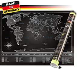 Trispando Weltkarte Zum Rubbeln in Premium Qualität, Rubbelweltkarte in Deutsch, inkl. Geschenk-Verpackung & Rubbelhilfe, 80x60 cm, Landkarte Zum Freirubbeln, Scratch-Map