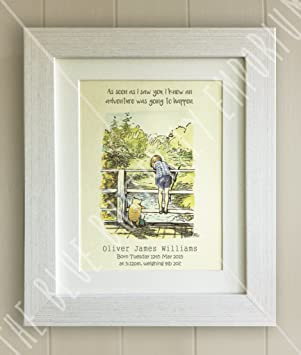 Personalised winnie the pooh framed quote print new babybirth personalised winnie the pooh framed quote print new babybirth nursery picture gift pooh bear christopher robin as soon as i saw you i knew an negle Image collections