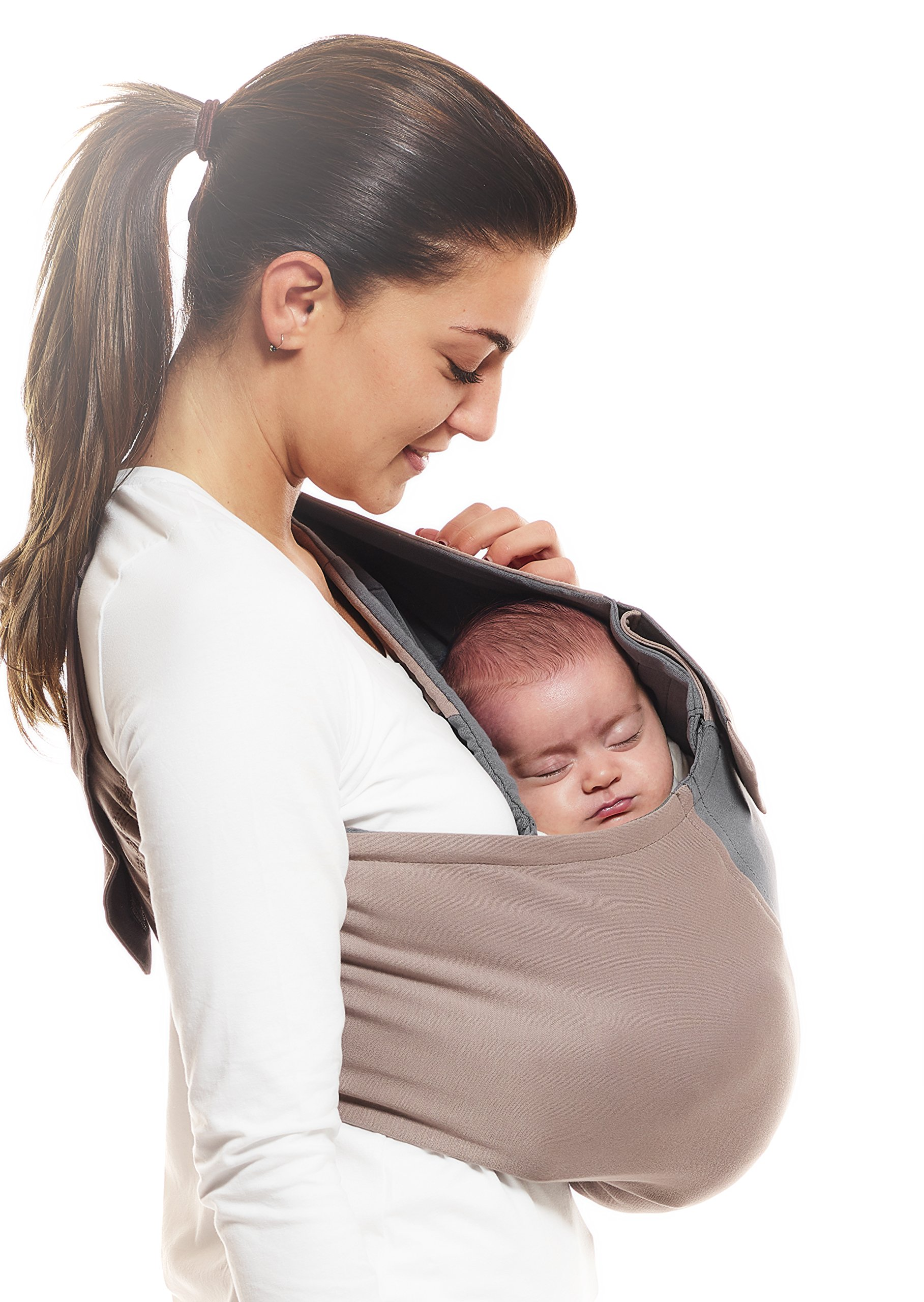 Wallaboo Wrap Sling Carrier Connection, Easy Adjustable, Ergonomic, 3 Carrying Positions, Newborn 8lbs to 33 lbs, Soft Breathable Cotton, 3 Sitting Positions, EU Safety Tested, Color: Taupe / Grey Wallaboo Ergonomically correct design with three natural positions: sleep, sit and active- one size fits all Can be used from premature baby through to 33lbs - with easy-to-use features like a full-front opening and an adjustable back Single piece of fabric, no straps, belts or buckles - Partly padded to give extra comfort- No wrapping, no hardware. Ready to wear 5