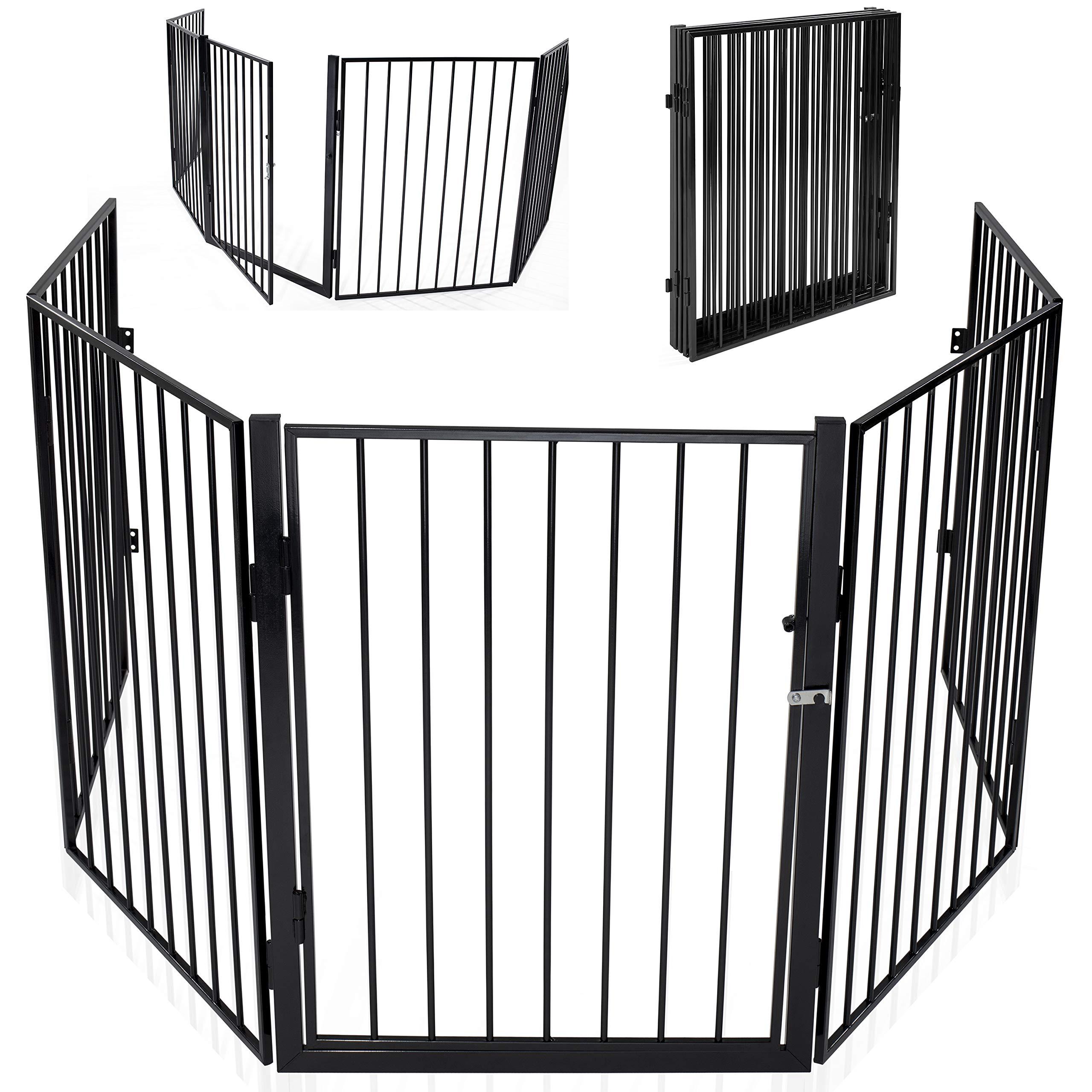 5 Paneles Reja de Protecci/ón de Metal Premontado Rejilla Protectora Met/álica Plegable con Puerta KIDUKU/® Barrera de Seguridad 305 cm para Ni/ños y Mascotas