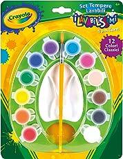Crayola I Lavabilissimi Set di Tempere Lavabili Con Pennello, Pronte all'Uso, per Scuola e Tempo Libero, Colori Assortiti, 12 Pezzi, 54-1066