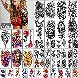 49 hojas de tatuaje temporal a prueba de agua de media manga negra para hombres y mujeres adultos, pegatinas de tatuajes fals