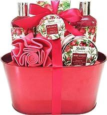 Spa Gift Basket, Spa Basket with Relaxing Pomegranate Fragrance by Lovestee - Bath and Body Gift Set, Includes Shower Gel, Bubble Bath, Body Lotion, Bath Salt, Bath-Body EVA Sponge
