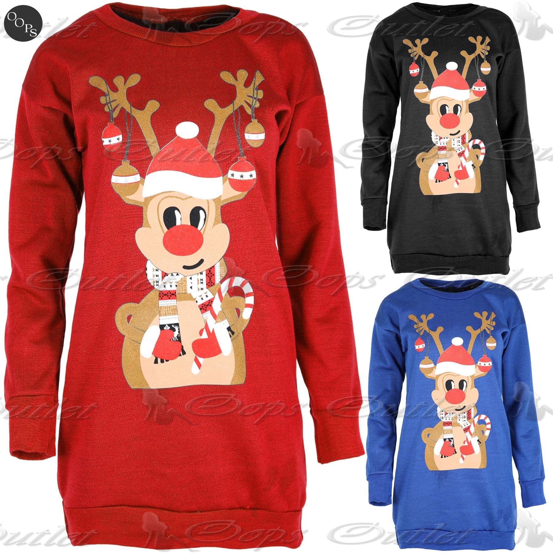 Fashion Star Womens Christmas Reindeer Candy Stick Print Blouse ... cab2f0b2dbbd