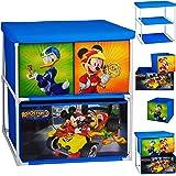 alles-meine.de GmbH Kinderregal mit 3 Aufbewahrungsboxen - Disney - Mickey Mouse - 60 cm - für Kinder - Boxen aus Stoff - Kommode / Regal / Kindermöbel für Jungen - Kinderzimmer ..