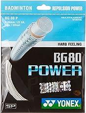 Yonex BG80 Power Badminton Strings, 0.68mm (White)
