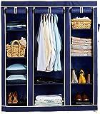 Amazon Brand - Solimo 3-Door Foldable Wardrobe, 10 Racks, Blue