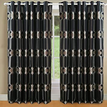 Curtains Ideas art deco curtains : Heavy Art DECO Nouveau CURTAINS Lined EYELET Ring BLACK GOLD BEIGE ...