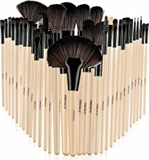 Foolzy BR-6C Professional Makeup Brush Set with Travel Case, Wood (Set of 32)