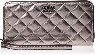 Guess Miriam Pewter Large Zip Around Wallet, Portafogli Donna