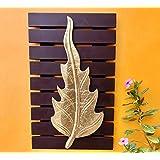 Maple Craft Wood Brass Wall Art-Brass Leaf Woodfor Home Decor/Living Room/Bed Room (Leaf - 14)