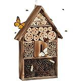 Relaxdays, nature Hôtel à insectes en bois brûlé 50 cm à suspendre abri abeille refuge papillon grillage, 9,5x31x48 cm