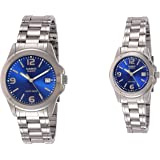 Casio His & Her Blue Dial Stainless Steel Band Couple Watch [MTP/LTP-1215A-2A] For Unisex, Analog