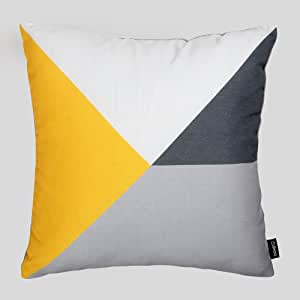 Cushoo senf gelb, grau und weiß Geometrische Kissen