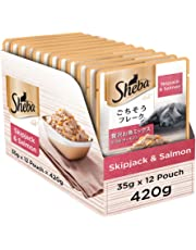 Sheba Fish Mix Premium Cat Food, Skipjack Salmon in Gravy, 35 g (Pack of 12)