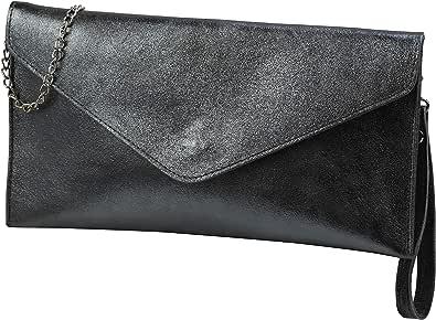 SH Leder Echtleder Clutch Umhängetasche kleine Tasche Abendtasche in Wildleder oder Metallic 31,5x16,5cm Palma G299