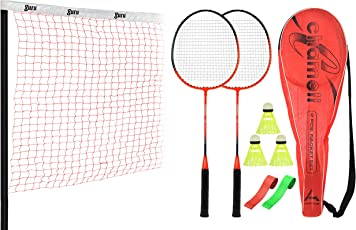 Guru Chemeli Combo-1 Two Racket & 2 PVC Grip & 1 Cover & 3 shuttlecock And 1 Badminton Net; Badminton Set ; SIze27 inch