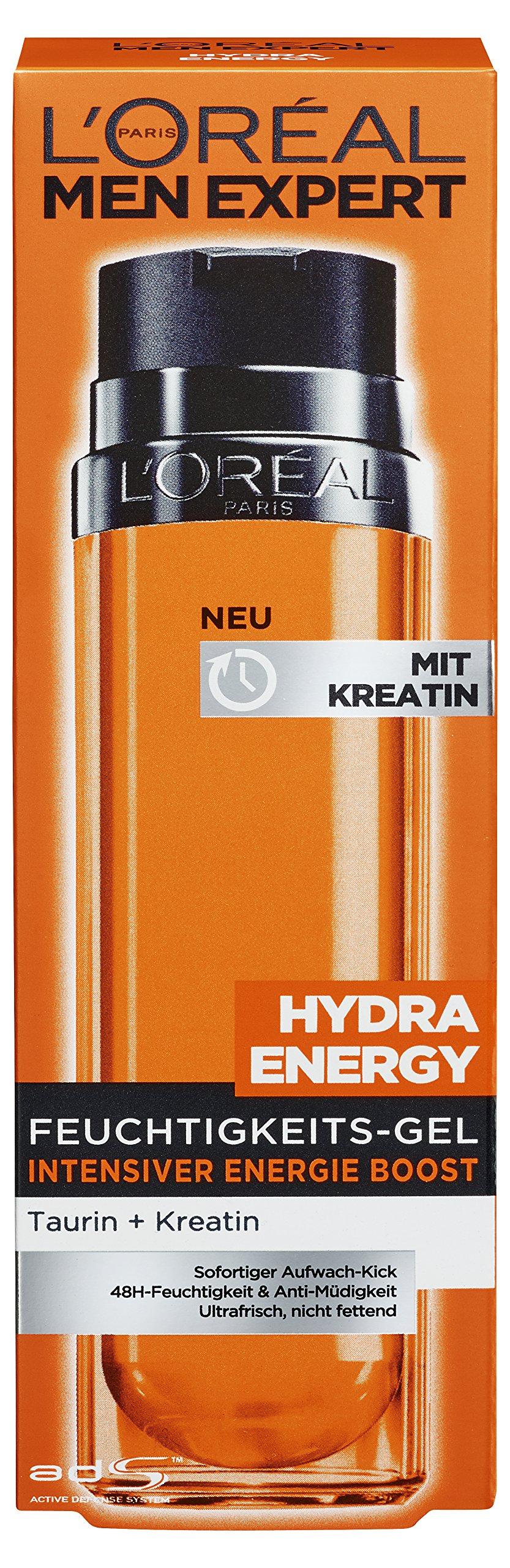 L'Oreal Men Expert Hydra Energy, gel hidratante energizante de creatina para el cuidado de la hidratación, paquete de 1 unidad (1 unidad de 50g)
