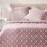 Amazon Basics Parure de lit avec housse de couette en satin, 155 x 220 cm / 80 x 80 cm x 2, Mauve quartz