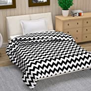 Divine Casa Natty Geometric Polyester Single Blanket -Black and White