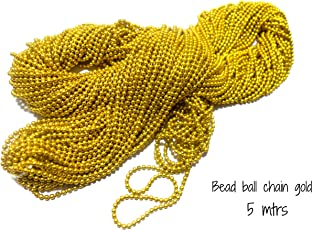 AM Ball Chain For Jewelry Making/Decorating & Craft Work - Golden - Pack Of 5 Mtrs