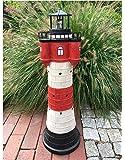 Garten Deko Figur Solar Leuchtturm 80 cm mit LED Beleuchtung Modell Roter Sand | liebevoll hand gefertigte und Dekoration für Garten Terrasse oder Balkon | maritimes Flair für Ihren Außen Bereich