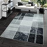 Vloerkleed goedkoop geruit design modern woonkamertapijt grijs zwart topprijs 160x220 cm zwart